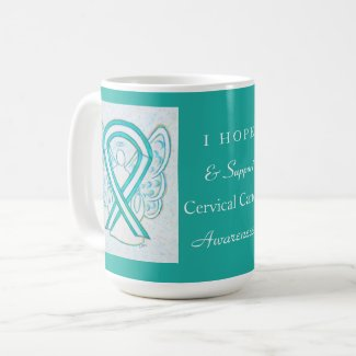 Cervical Cancer Awareness Ribbon Angel Coffee Mugs