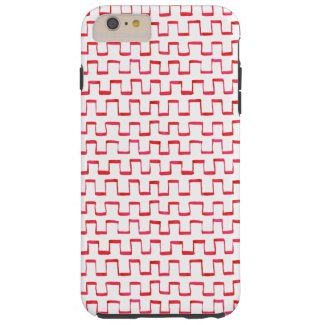 Red Gouache Crenellated Pattern Tough iPhone 6 Plus Case