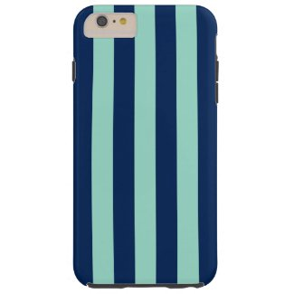Vertical Navy and Light Green Stripes Tough iPhone 6 Plus Case