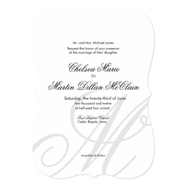 """simple elegant monogram white wedding invite 5"""" x 7"""