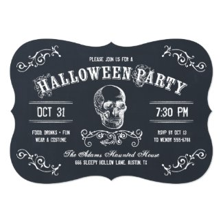 Chalkboard Skull Halloween Costume Party Card