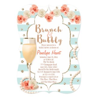 Coral and Aqua Brunch and Bubbly Bridal Shower Card