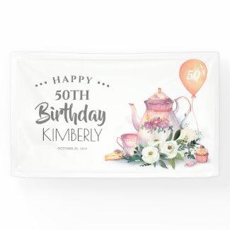 Par-Tea Floral Teapot Happy Birthday Banner