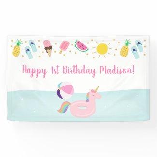 Girls Pool Party Ice Cream Sunshine Birthday Banner