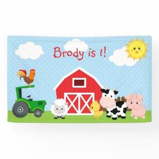Farm Animals Backdrop / Banner (Blue for Boys)