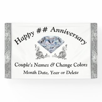 Diamond Anniversary Banners Personalized Your Text