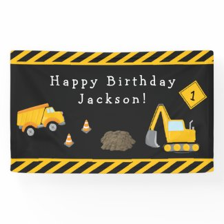 Construction Happy Birthday with Age Boy Banner
