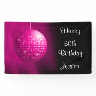 Glamorous 45th Birthday Pink Party Disco Ball Banner