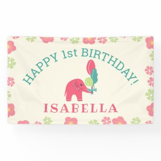 Elephant with Balloons Girls Birthday Banner