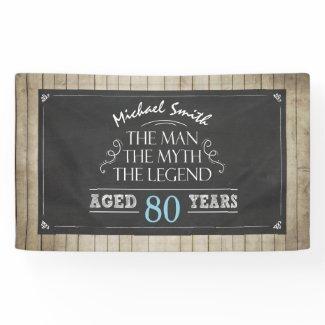 Man birthday banner Man Myth Legend Rustic Wood 60
