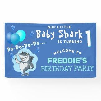 Cute Shark Blue Balloons Birthday Party Banner