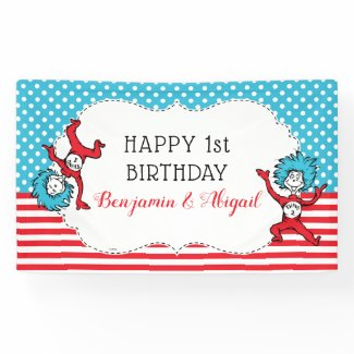 Thing 1 Thing 2   Twins Birthday Banner
