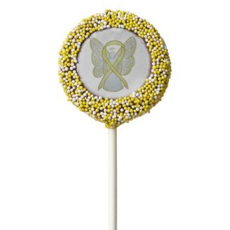 Yellow Awareness Ribbon Angel Oreo Cookie Pops
