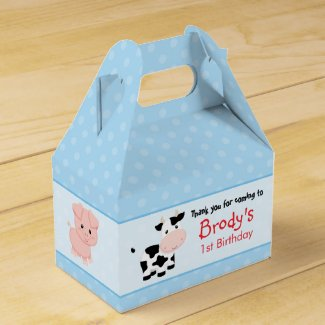 Farm Birthday Favor Box (Gable Box) - Blue