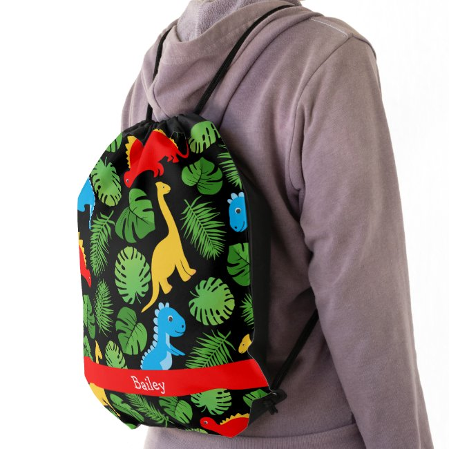 Dinosaurs Tropical Palms Kids Back to School Name Drawstring Bag