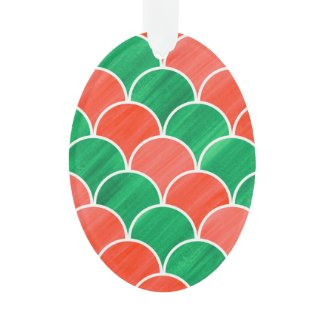 Red and Green Diagonal Scale Christmas Pattern Ornament