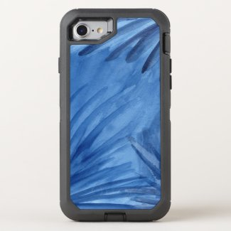 Abstract Blue Painted Rays OtterBox Defender iPhone 7 Case