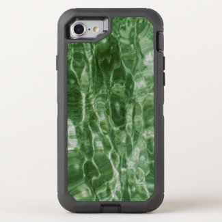 Faux Green Marble Abstract Water Photo OtterBox Defender iPhone 7 Case
