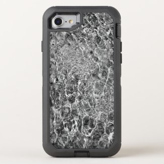 Faux Marble Abstract Water Black and White Photo OtterBox Defender iPhone 7 Case