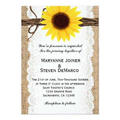 Rustic Burlap Sunflower Wedding Invitation
