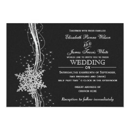 Black   and Silver Snowflakes Winter Wedding Invitations