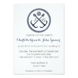 Anchor Monograms Nautical Wedding Invites