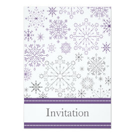 Purple  Snowflakes Winter Wedding Invitations