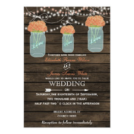Peach   Flowers in Mason jar Barn Wood Wedding Invitations