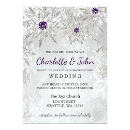 Silver   and Purple Snowflakes Winter Wedding Invitations
