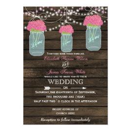 Pink   Flowers in Mason jar Barn Wood Wedding Invitations