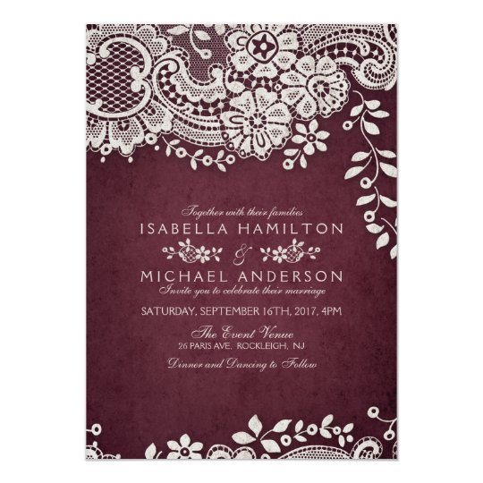 Rustic Burgundy Wedding Invitations with Vintage Floral Lace