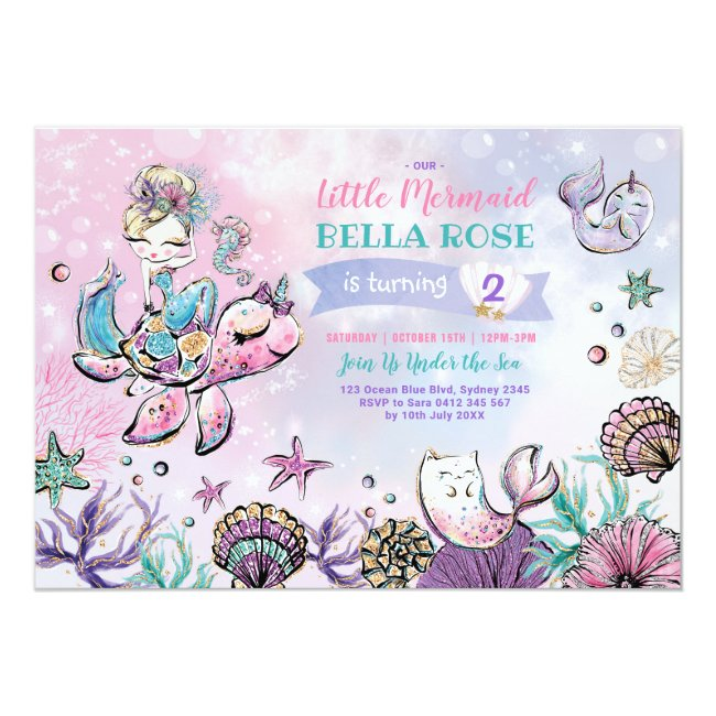 Pink Purple Turquoise Mermaid Pool Party Birthday Invitation