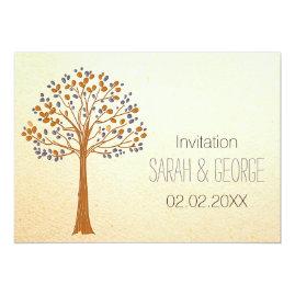 Rustic fall tree wedding invitations set
