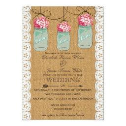Hydrangeas Mason jar Wedding Invitations