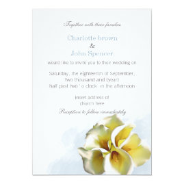 Watercolor Lilies Floral Wedding Invitations