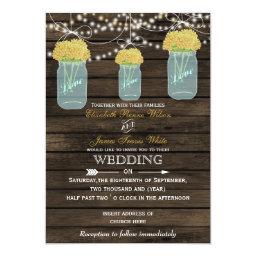 Yellow   Flowers in Mason jar Barn Wood Wedding Invitations