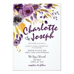 Plum  Purple Floral Wedding Invitations