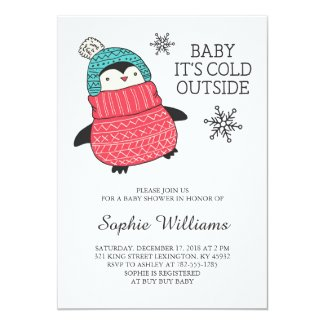 Baby It's Cold Outisde Winter Baby Shower Card