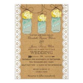 Burlap   Lace Yellow Flowers in Mason jar Barn Wood Wedding Invitations