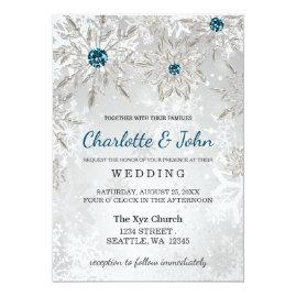 Aqua  and Silver Snowflakes Winter Wedding Invitations