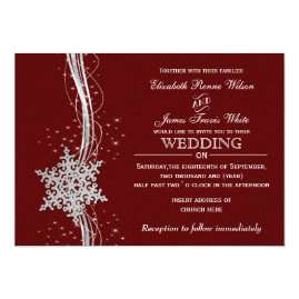 Silver   and Red Snowflakes Winter Wedding Invitations