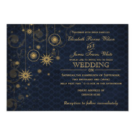 Gold  and Blue Snowflakes Winter Wedding Invitations