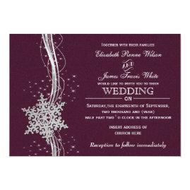 Fuchsia   and Silver Snowflakes Winter Wedding Invitations
