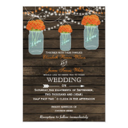 Rustic   Orange Flowers Barn Wood Mason Jars Wedding Invitations
