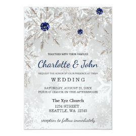 Silver   and Navy Snowflakes Winter Wedding Invitations