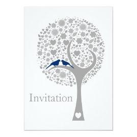 Navy   Lovebirds Wedding Invitations