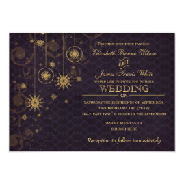 Gold  and Purple Snowflakes Winter Wedding Invitations