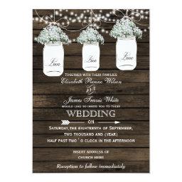 Mason Jar Baby's Breath Barn Wood Wedding Invitations