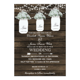 Mason Jar Baby's Breath Barn Wood Wedding Invitations