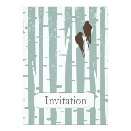 Lovebirds on Birch Winter Wedding Invitations